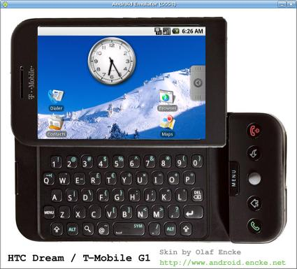 Android emulator skin HTC Dream in black and landscape mode