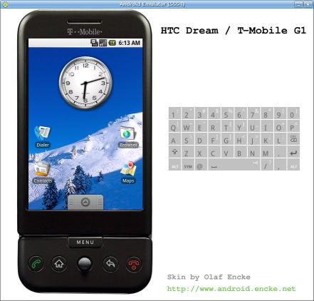 Android emulator skin HTC Dream in black and portrait mode