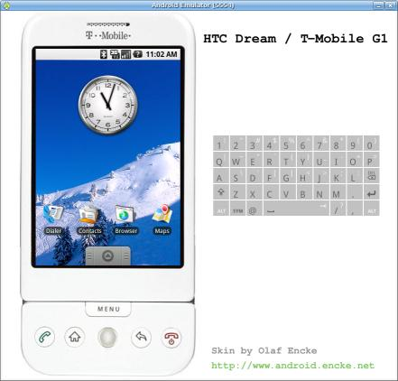Android emulator skin HTC Dream in white and portrait mode