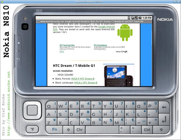 Android emulator skin Nokia N810 in landscape mode