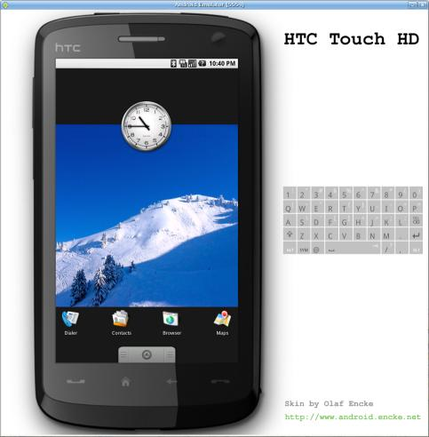 Android emulator skin HTC Touch HD in portrait mode